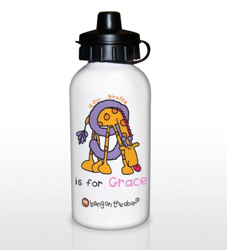 Personalised Bang On The Door Animal Alphabet Girls Drinks Bottle